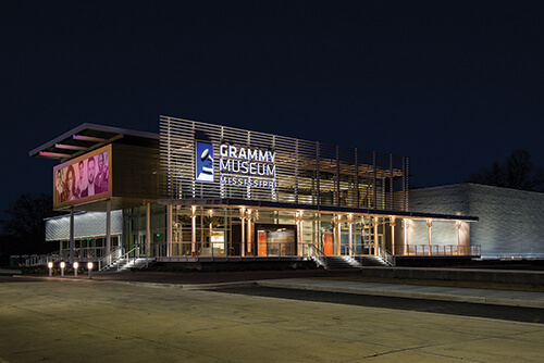 The Grammy Museum of Mississippi at night